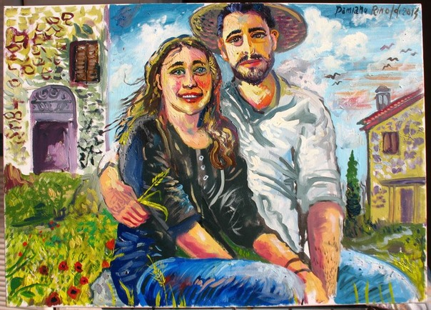 Country love(Marty and Matt),oil on canvas,2014,cm.50 x 70