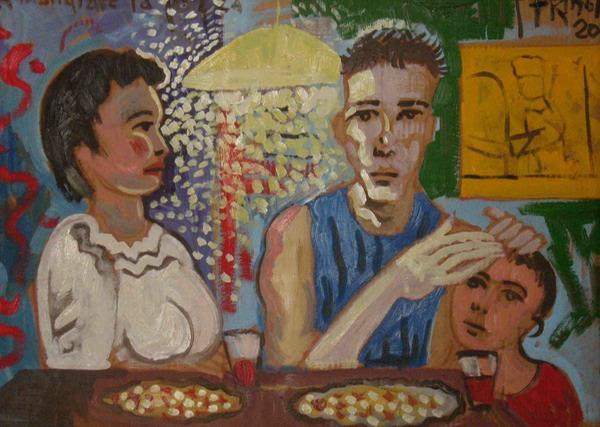 Eating pizza,2001,oil on  cardboard,50 x 70 cm copy