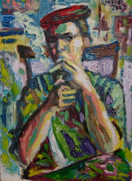 Mrs Marina smoking ,oil on canvas,cm.35 x 45,2008 copy
