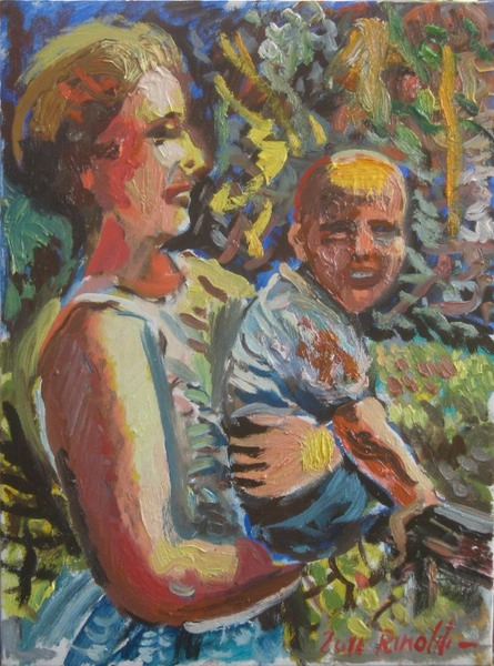 Obama  and mum,30 x 40 cm,oil on board,2011 copy
